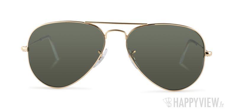Lunettes de soleil Ray-Ban RB 3025 Aviator doré/vert - vue de face