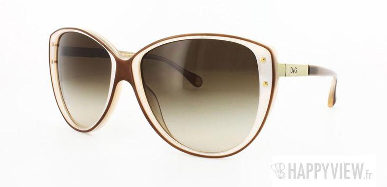 Lunettes de soleil Dolce & Gabbana Dolce&Gabbana 3079 marron/blanc - vue de 3/4