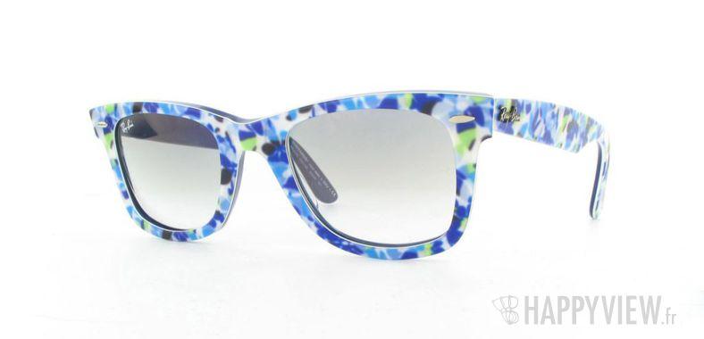 Lunettes de soleil Ray-Ban Ray-Ban Wayfarer Flowers bleu - vue de 3/4