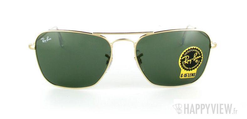 Lunettes de soleil Ray-Ban Ray-Ban Caravan doré/vert - vue de face