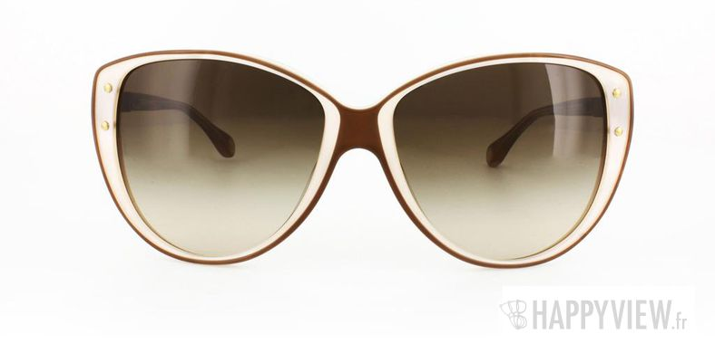 Lunettes de soleil Dolce & Gabbana Dolce&Gabbana 3079 marron/blanc - vue de face