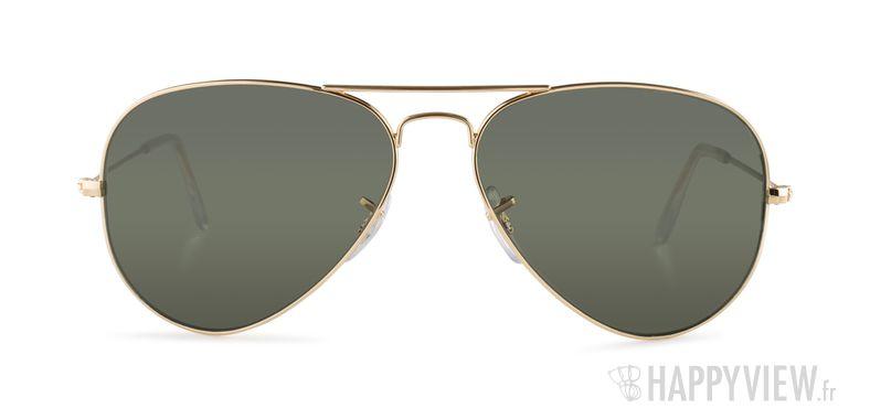 Lunettes de soleil Ray-Ban RB 3025 Aviator Large doré/vert - vue de face
