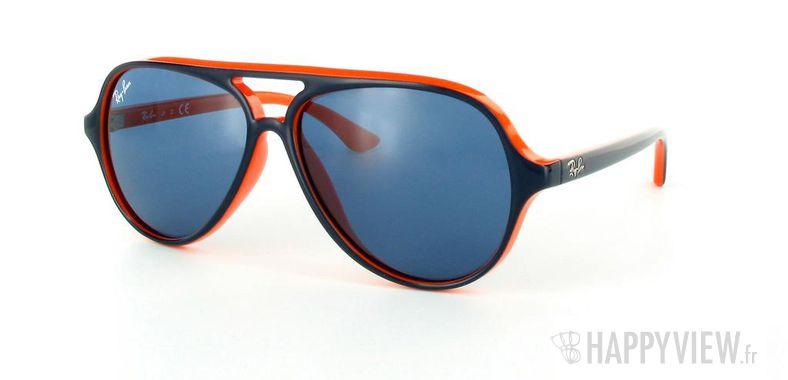 Lunettes de soleil Ray-Ban Ray-Ban Junior Cats 5000 RJ9049S bleu/orange - vue de 3/4