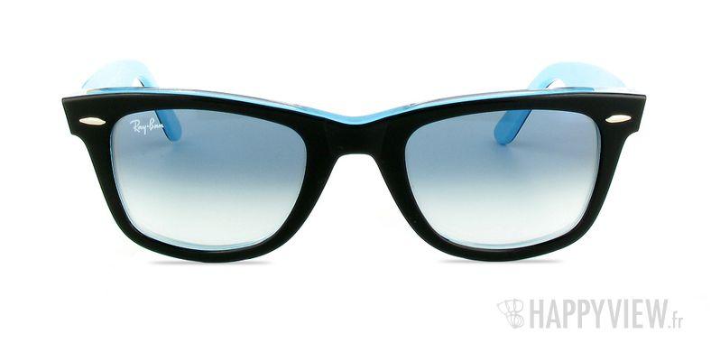 Lunettes de soleil Ray-Ban RB 2140 Wayfarer noir/bleu - vue de face