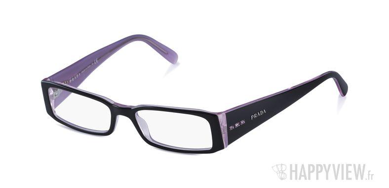 Lunettes de vue Prada PR 10FV noir/rose - vue de 3/4