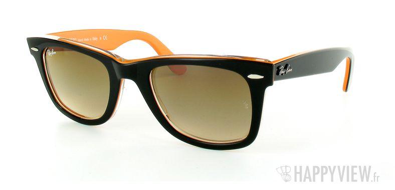 Lunettes de soleil Ray-Ban Ray-Ban Wayfarer orange/noir - vue de 3/4
