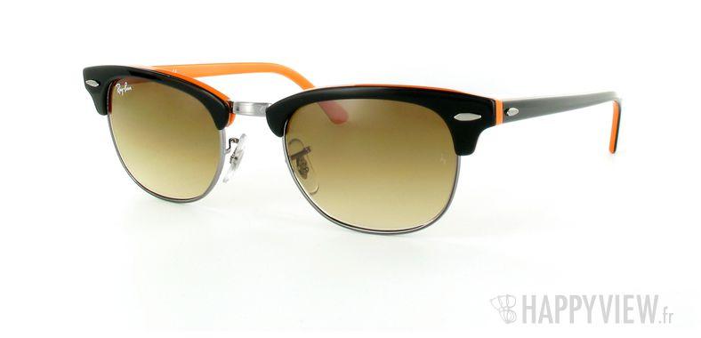Lunettes de soleil Ray-Ban Ray-Ban New Clubmaster orange/noir - vue de 3/4