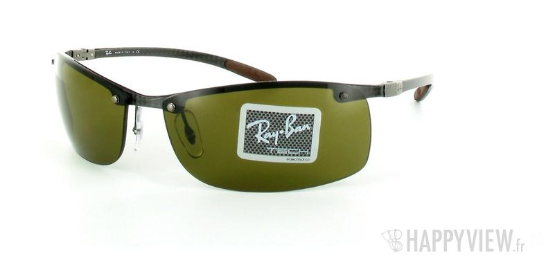 Lunettes de soleil Ray-Ban Ray-Ban Tech RB8305 noir/marron - vue de 3/4